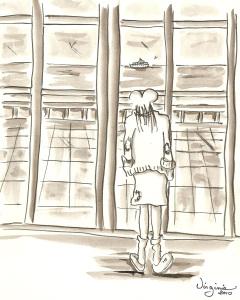 la vue sur mer-carte illustrée-Virgiie Ducoulombier-Morat-Fondation Yves Cotrel-au profit de la recherche sur les scolioses